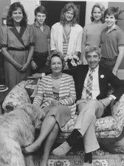 Front row: (dog Red) Jane Anne Perkey, Wayne Perkey Back row : Cecil Booth, Wayne Perkey II, Lady Booth, Rebecca Booth, Joshua Perkey