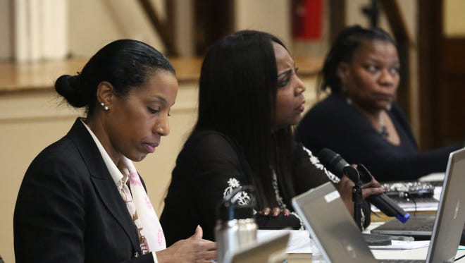From left, Poughkeepsie schools Superintendent Nicole Williams, school board President Felicia Watson and Trustee Debra Long at the Feb. 21  board meeting