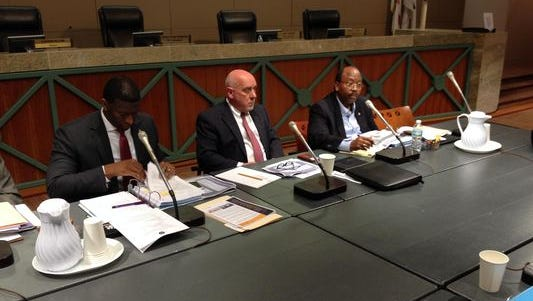 City commissioners and staff meet in a budget workshop last month.