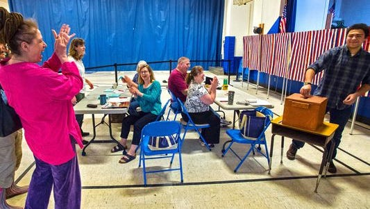 Voters cast ballots at the Westford Elementary School on Town Meeting Day 2015.