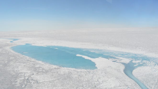 Large meltwater lakes form over the Greenland ice sheet in August 2016.