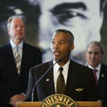 Donald Lassere, president and CEO of the Muhammad Ali Center, speaks during a press conference announcing a $500,000 gift to fund the Ali Center's education initiatives. June 20, 2016