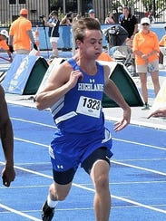 Nick Veneman of Highlands sprints to the finish in