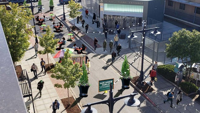 """A rendering of a proposed """"pocket park"""" on Park Avenue, between Burwell Avenu and Fourth Street. The city is considering closing the section out of concern for pedestrian safety."""
