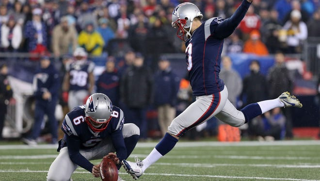 Stephen Gostkowski, right, was added to the New England Patriots injury report ahead of Super Bowl LI. The kicker missed practice on Friday because of an illness.