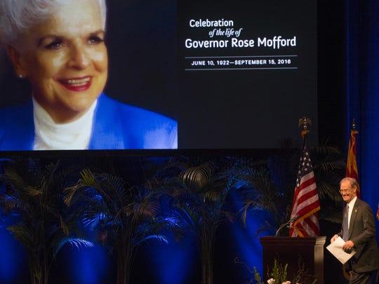 Gov. Rose Mofford's memorial on Oct. 30, 2016, in Phoenix.
