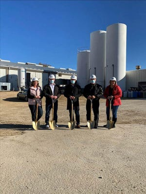 Hispanic Cheese Makers-Nuestro Queso in Stephenson County broke ground Friday for the company's $15 million plant expansion. Pictured from left are Donna Hermes, transportation manager, Jason Brinkman, plant manager, CEO Mark Braun, CFO Ken Mark and Amanda Maestas, HR manager.
