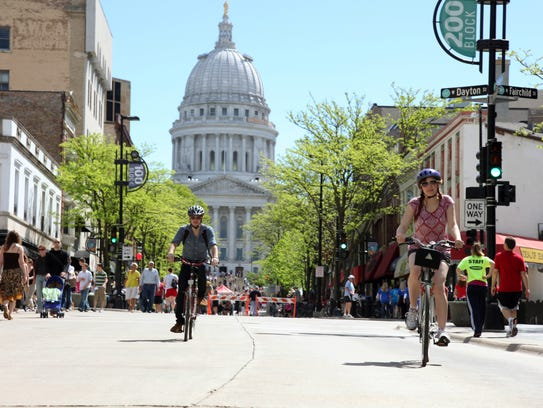 Bicyclists on State Street