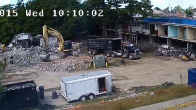 Demolition taking place on campus
