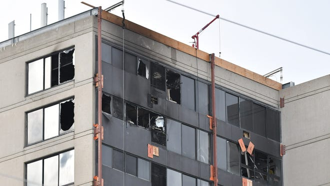 The upper floors of the 555 Building in Birmingham suffered damage in the Thursday morning fire.