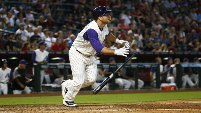 Arizona Diamondbacks Chris Iannetta hits a 3-RBI double against the San Diego Padres in the 6th inning on Thursday, June 8, 2017 at Chase Field in Phoenix, Ariz.