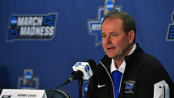 MTSU Blue Raiders head coach Kermit Davis signed his