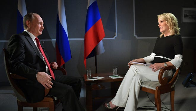 Megyn Kelly, right, interviewed Russian President Vladimir Putin for a segment of NBC's 'Sunday Night with Megyn Kelly.'