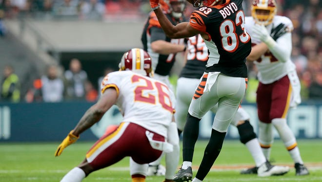 Bengals wide receiver Tyler Boyd (83) still waits for the first touchdown of his young career.
