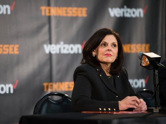 New University of Tennessee Chancellor Beverly Davenport looks out at the crowd during a press conference in Thompson-Boling Arena on March 2, 2017.