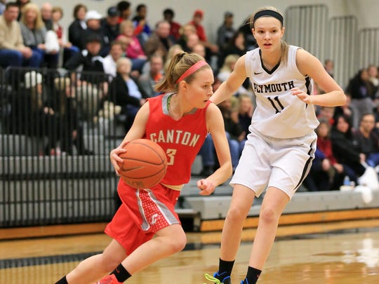 Canton's Natalie Winters (left) tries to dribble past