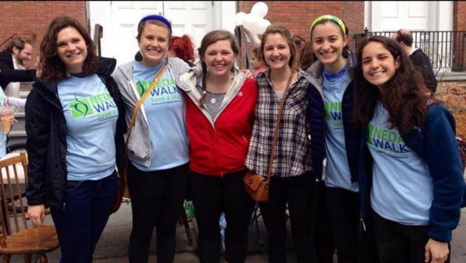 Pictured are UVM students participating in last year's Vermont NEDA walk (left to right): Anne Moyerbraelon, Jess Cohen, Jessica Riley, Deirdre Howard, Emma Simon and Cara D'anello. Cohen is the coordinator for the 2016 walk.