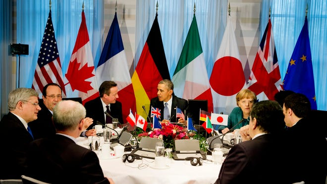 President Obama gathered with G7 world leaders in The Hague, Netherlands, on March 24, 2014.