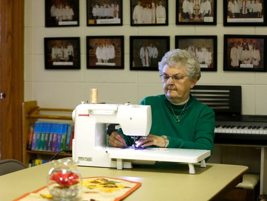 Betty Burns, who has been quilting with the Golden