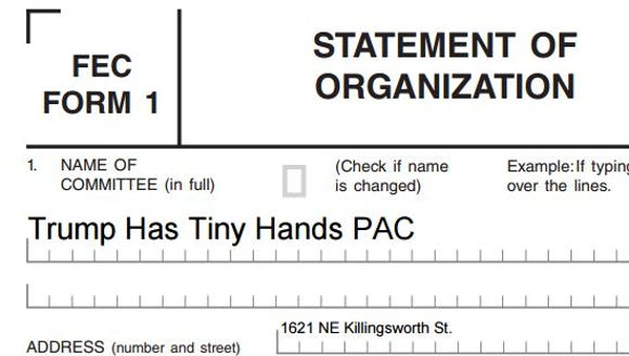 Screenshot of political committee registration form.