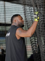 Feb 24, 2015; Ft. Myers, FL, USA; Boston Red Sox designated hitter David Ortiz (34) is seen in the batting cage during workout drills at JetBlue Park. Mandatory Credit: Steve Mitchell-USA TODAY Sports