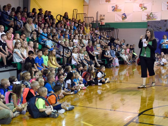 Brooke Shappell speaks to students during the morning