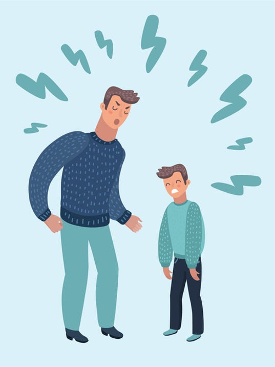 Father Scolding His Son. Angry Dad Yells at Little Scared Kid. Cartoon Style Vector Illustration