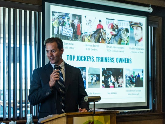 Racing Secretary Dan Bork announces live racing dates and special events for the upcoming 95th meet during a media day event held in the Gardenia Room at the Ellis Park clubhouse in Henderson, Ind., on Tuesday, June 20, 2017. The meet will begin on Saturday, July 1, and last through Labor Day, September 4.