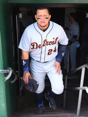 Tigers first baseman Miguel Cabrera enters the dugout before a game against the Pirates on April 26, 2018 in Pittsburgh.