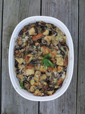 Stuffing prepared as a Thanksgiving Day side