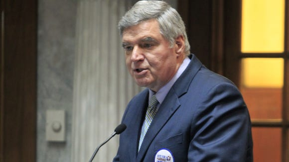 Curt Smith, president of Indiana Family Institute, a proponent of HJR-3, the proposed constitutional amendment on same-sex marriage, was first up to speak during the Senate Rules Committee hearing on Monday