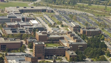 An aerial view of the RIT campus in 2014.