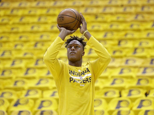 Indiana Pacers forward Myles Turner  warms up before playing the Toronto Raptors in their Eastern Conference first-round playoff game Thursday, April 21, 2016,  at Bankers Life Fieldhouse.