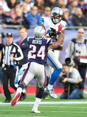 Patriots' Darrelle Revis knocks the ball out of Lions tight end Eric Ebron hands in the third quarter during a game in 2014.