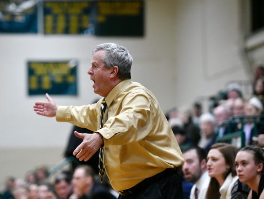 Delone Catholic head coach Gerry Eckenrode reacts to