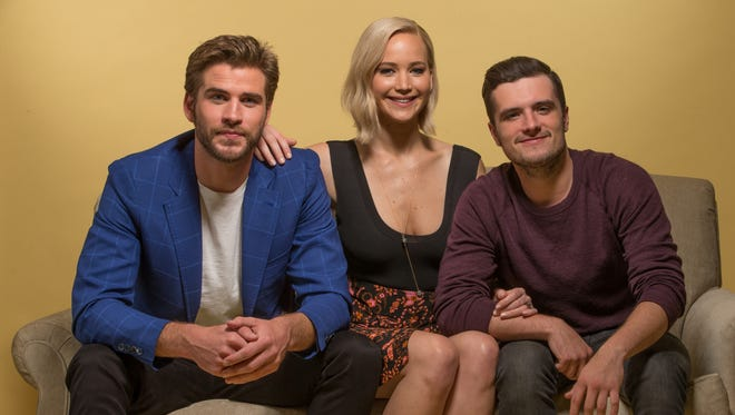The threesome from 'The Hunger Games': Liam Hemsworth (from left), Jennifer Lawrence and Josh Hutcherson.