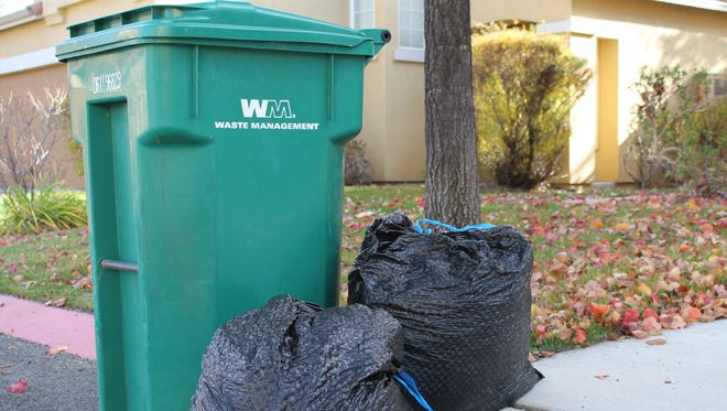 Sparks residents get to place up to six extra trash bags curbside each collection day during November to help keep leaves out of storm drains.