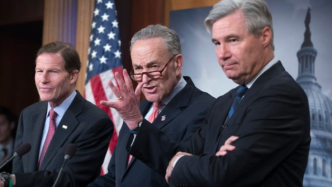 From left, Democratic Sens. Richard Blumenthal, Chuck Schumer and Sheldon Whitehouse.