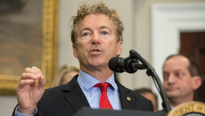 Sen. Rand Paul delivers remarks in the Roosevelt Room of the White House on Oct. 12, 2017.