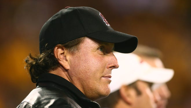 ASU alum and professional golfer Phil Mickelson on the sidelines against the Stanford Cardinal at Sun Devil Stadium.