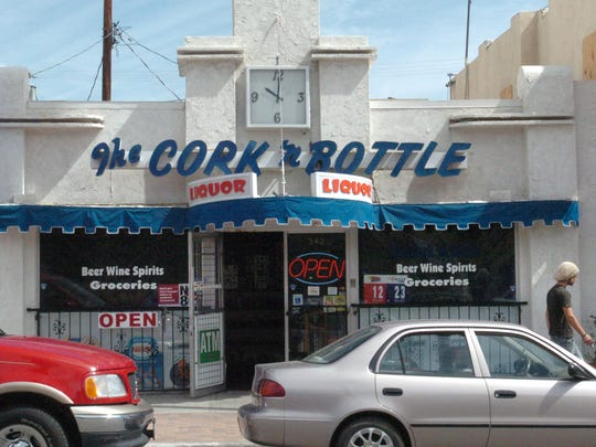 The facade of the Cork n' Bottle liquor store on palm