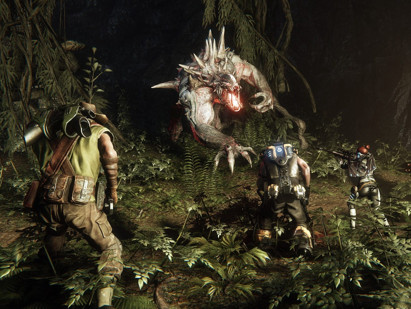 Hunters square off against a monster in 'Evolve.'