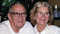 Alice Orlemann with husband Clyde in 1990.