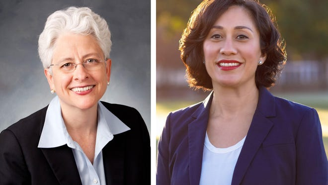 Assistant County Attorney Laurie Eiserloh (left) and Austin City Council Member Delia Garza are vying to be the next Travis County attorney.