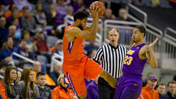 Evansville's Christian Benzon throws the ball off Northern Iowa's Jordan Ashton to repossession tduring the first half of their game at The Ford Center in Evansville Sunday afternoon.