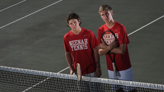 Neenah High School's Carter Brown, left, and Grant Mauthe are the Post-Crescent boys tennis players of the year after finishing third in Division 1 doubles at the WIAA state tournament.