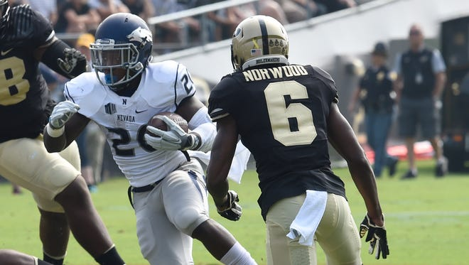 Wolf Pack running back James Butler moved into 13th place on Nevada's all-time rushing list.