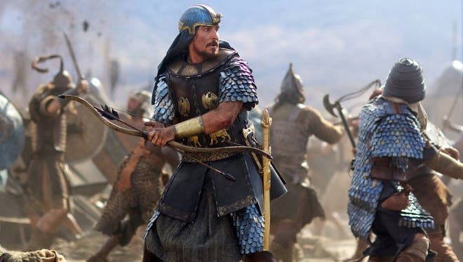 Holy Moses: Christian Bale goes into battle in the biblical film.
