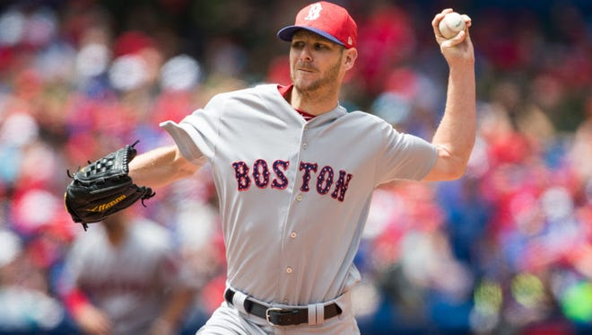 Boston Red Sox starting pitcher Chris Sale (41) delivers a pitch against the Toronto Blue Jays during the first inning at Rogers Centre.