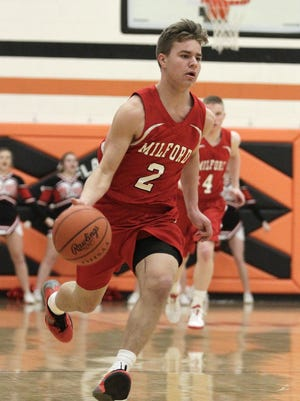 Milford's Keenan Farrell scores 10 points as the Eagles stay unbeaten with a 64-43 victory over Loveland on Friday.